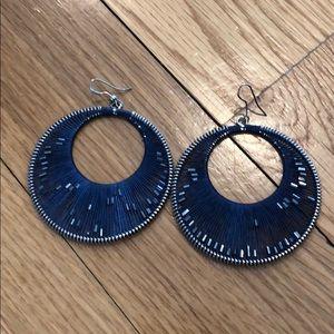 Jewelry - Navy Threaded/Beaded Hoop Earrings
